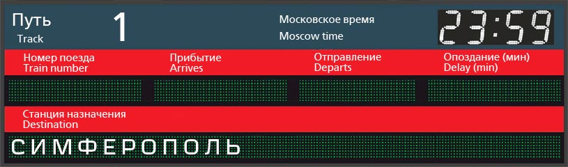 Отправление поездов по станции Минеральные Воды в Симферополь