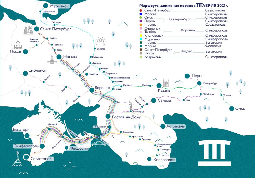схема маршрутов поездов Таврия в Крым в 2021 году